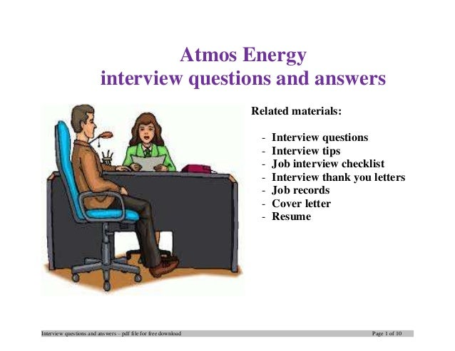 Atmos energy interview questions and answers