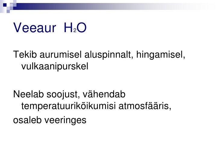 Veeaur H2OTekib aurumisel aluspinnalt, hingamisel, vulkaanipurskelNeelab soojust, vähendab  temperatuurikõikumisi atmosfää...