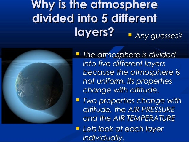 the atmosphere and its layers There are five layers within the atmosphere the troposphere, the stratosphere, mesosphere, ionosphere and exosphere are the layers of the atmosphere the troposphere lies closest to the earth and is about 11 miles thick this layer contains most of the air and oxygen in the atmosphere.