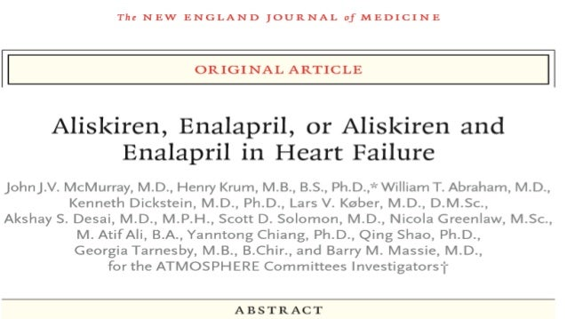 AIM • To test whether combining the renin inhibitor aliskiren with the ACE inhibitor enalapril was superior to enalapril a...