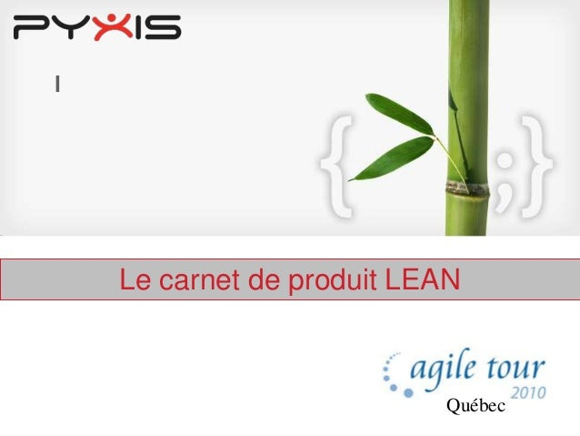 l Le carnet de produit LEAN E Québec