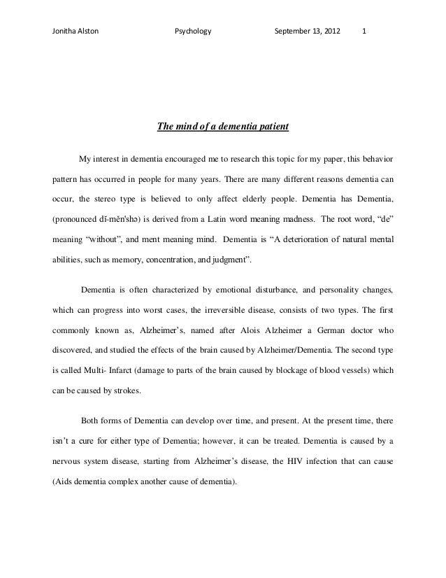 Jonitha Alston                    Psychology                   September 13, 2012       1                             The ...