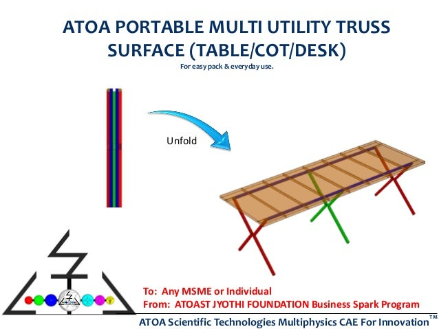 ATOA Scientific Technologies Multiphysics CAE For Innovation TM ATOA PORTABLE MULTI UTILITY TRUSS SURFACE (TABLE/COT/DESK)...