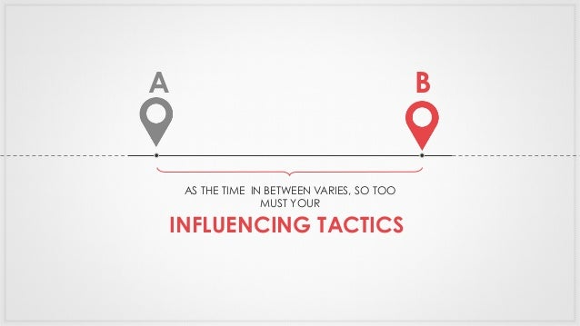 BA AS THE TIME IN BETWEEN VARIES, SO TOO MUST YOUR INFLUENCING TACTICS
