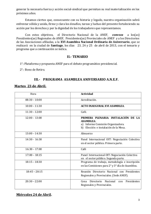 A todos xvi asamblea aniversario anef 2013 convocatoria temario y programa Slide 3