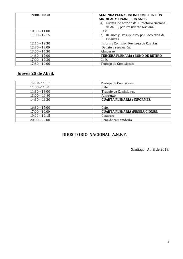 09:00- 10:30                    SEGUNDA PLENARIA: INFORME GESTIÓN                                      SINDICAL Y FINANCIE...