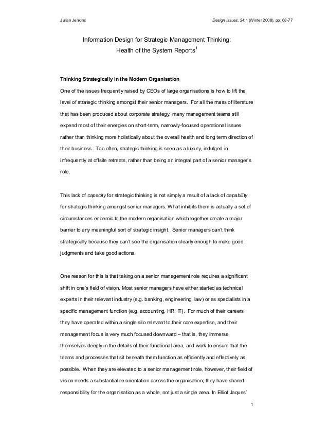 Julian Jenkins Design Issues, 24:1 (Winter 2008), pp. 68-77 1 Information Design for Strategic Management Thinking: Health...