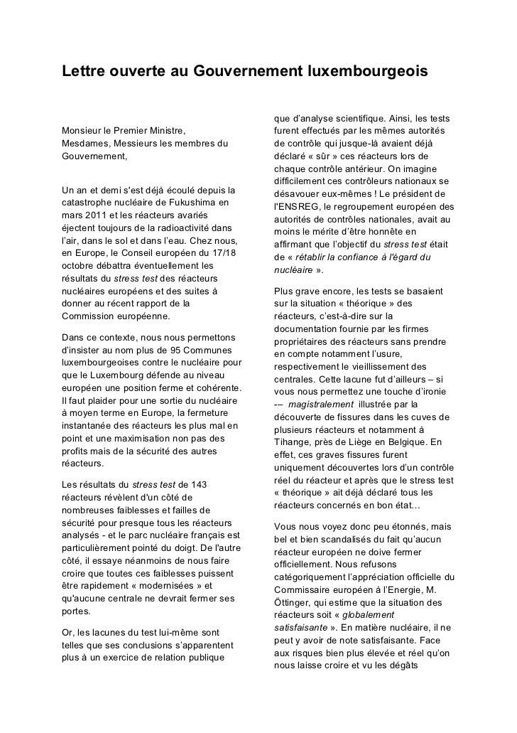 Lettre ouverte au Gouvernement luxembourgeois                                               que d'analyse scientifique. Ai...