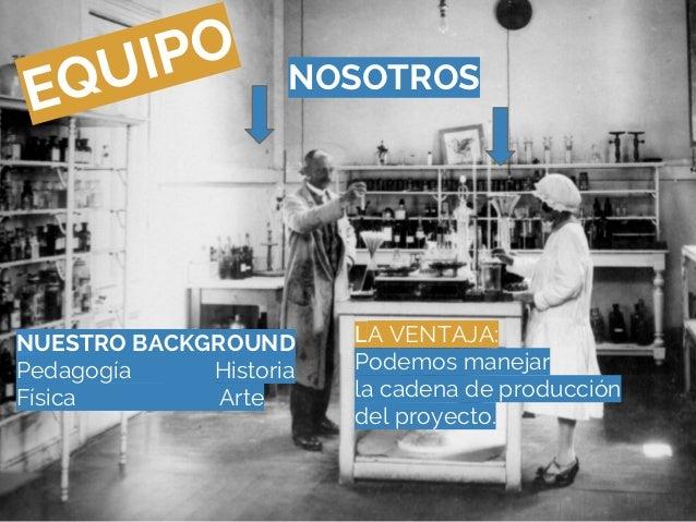 EQUIPO NOSOTROSNUESTRO BACKGROUNDPedagogía HistoriaFísica ArteLA VENTAJA:Podemos manejarla cadena de produccióndel proyecto.