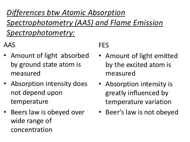 Differences btw Atomic Absorption  Spectrophotometry (AAS) and Flame Emission  Spectrophotometry:  AAS  • Amount of light ...