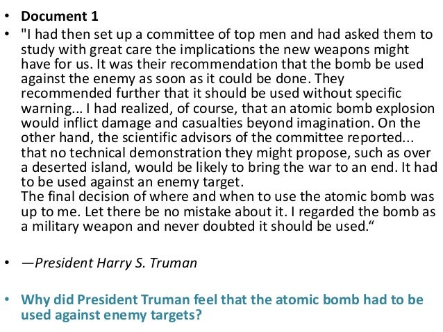 Atomic bomb dbq essay