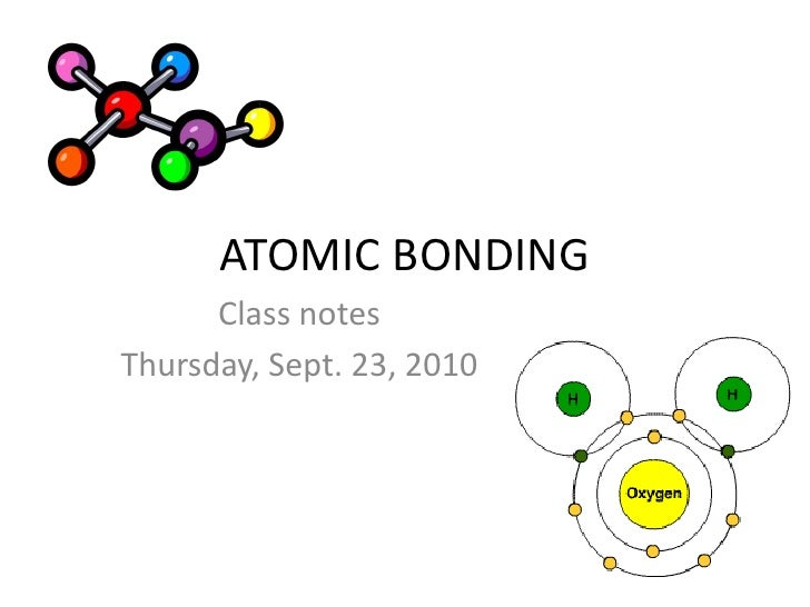 ATOMIC BONDING<br />Class notes<br />Thursday, Sept. 23, 2010<br />