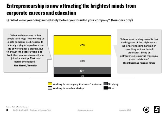 Entrepreneurship is now attracting the brightest minds from corporate careers and education SLUSH & ATOMICO   The State of...