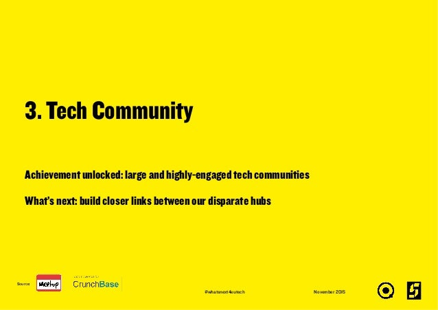 Achievement unlocked: large and highly-engaged tech communities What's next: build closer links between our disparate hubs...