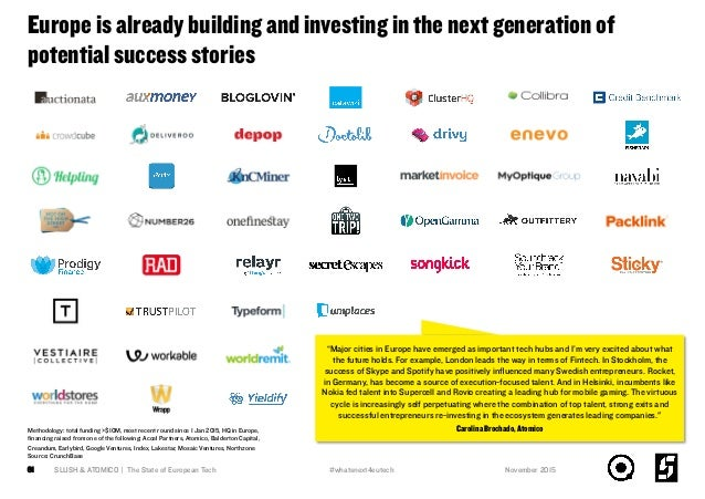 Europe is already building and investing in the next generation of potential success stories SLUSH & ATOMICO   The State o...