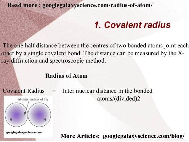 Chemistry Radius of Atom and Types | Google Science