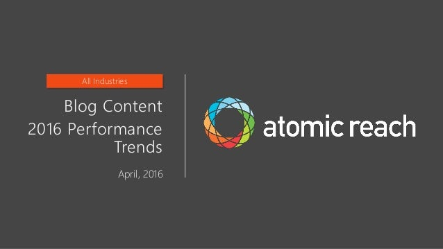 Blog Content 2016 Performance Trends April, 2016 All Industries