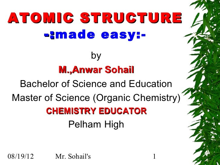 ATOMIC STRUCTURE   -: made easy:-                  by           M.,Anwar Sohail  Bachelor of Science and Education Master ...