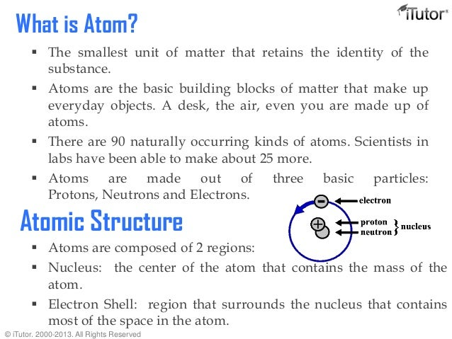 an analysis of the topic of the atom as the smallest unit of matter The atom is the smallest part of matter that represents a subatomic particles: so that's what's in the proton carries one unit of positive.