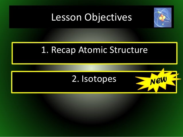 1. Recap Atomic Structure 2. Isotopes Lesson Objectives
