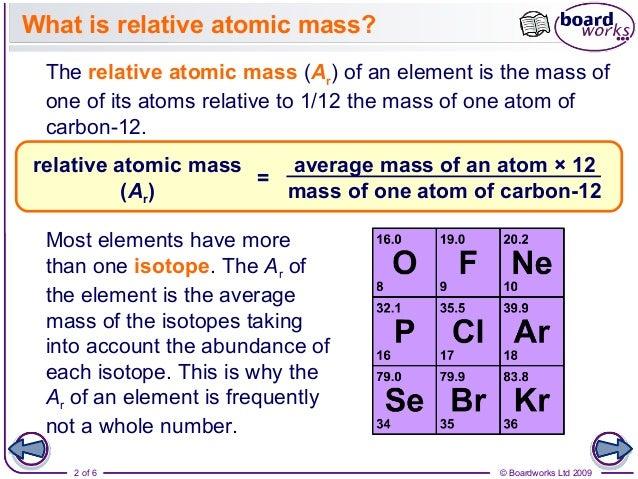 Atomic structure part 3 relative atomic mass