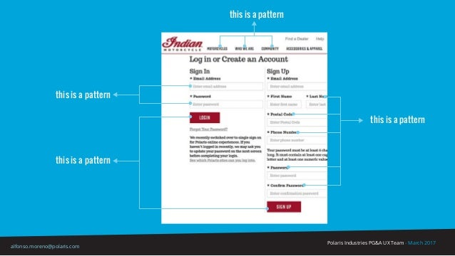 Polaris Industries PG&A UX Team - March 2017 alfonso.moreno@polaris.com this is a pattern this is a pattern this is a patt...