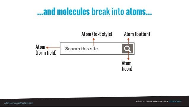 Polaris Industries PG&A UX Team - March 2017 alfonso.moreno@polaris.com Search this site ...and molecules break into atoms...
