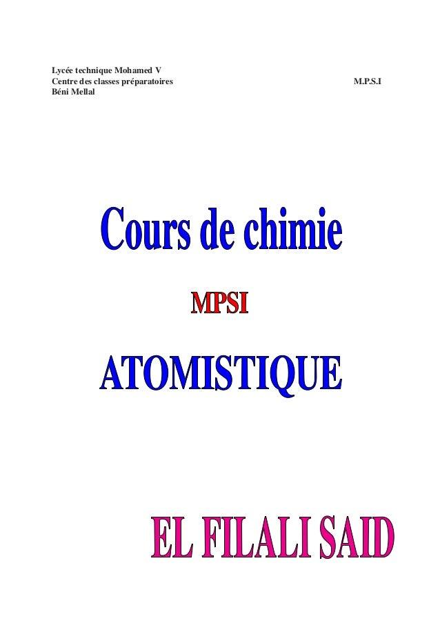 Lycée technique Mohamed V Centre des classes préparatoires Béni Mellal  M.P.S.I