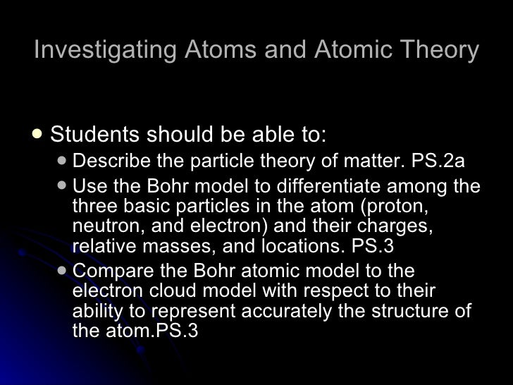 Investigating Atoms and Atomic Theory <ul><li>Students should be able to: </li></ul><ul><ul><li>Describe the particle theo...