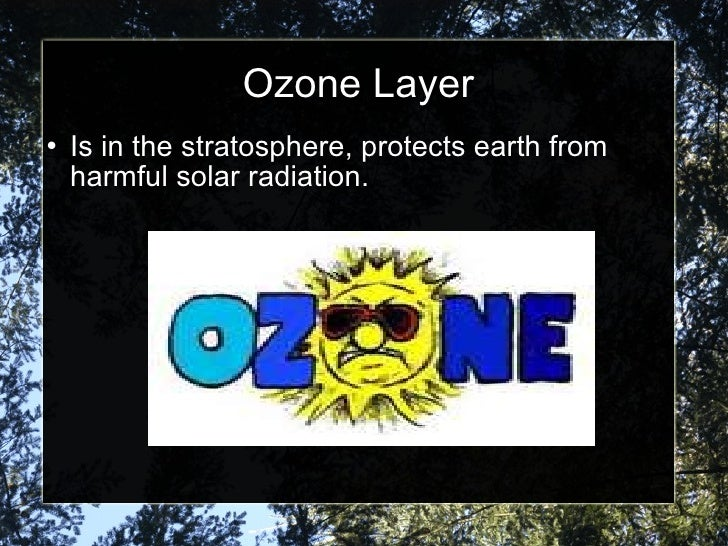 Ozone Layer <ul><li>Is in the stratosphere, protects earth from harmful solar radiation. </li></ul>