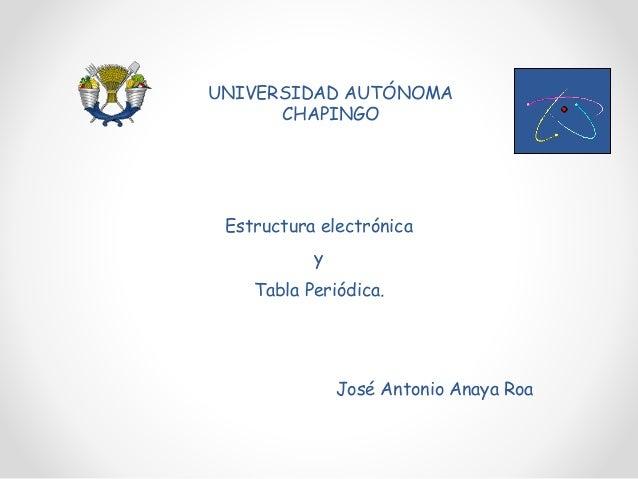 Atomo y tabla periodica 1 estructura electrnica y tabla peridica universidad autnoma chapingo jos antonio anaya roa urtaz Choice Image