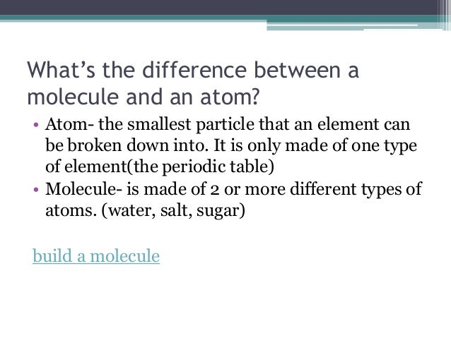 what might be all the variation in between any atom as well as some molecule
