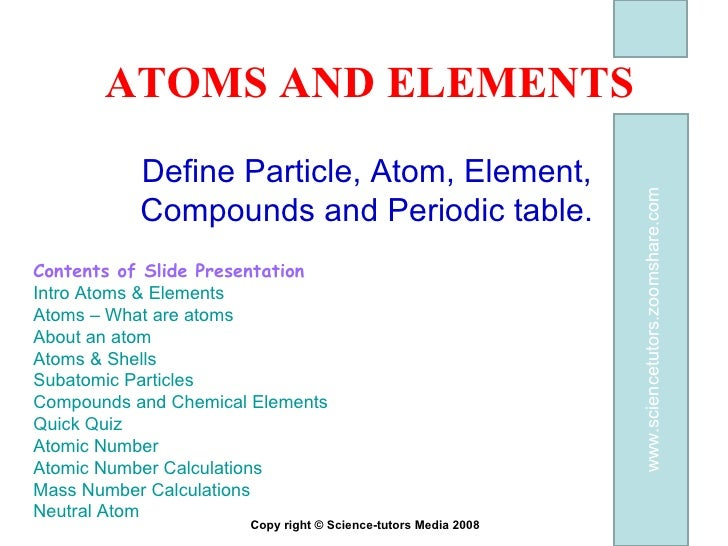 ATOMS-ELEMENTS AND COMPOUNDS REVISION