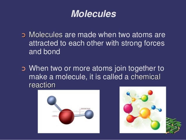 the definitions of atoms molecules bonds and their particles Atomic structure atoms are made up of particles called protons, neutrons, and electrons, which are responsible for the mass and charge of atoms water molecules many biological processes are devoted to breaking down molecules into their component atoms so they can be reassembled into a more useful molecule.