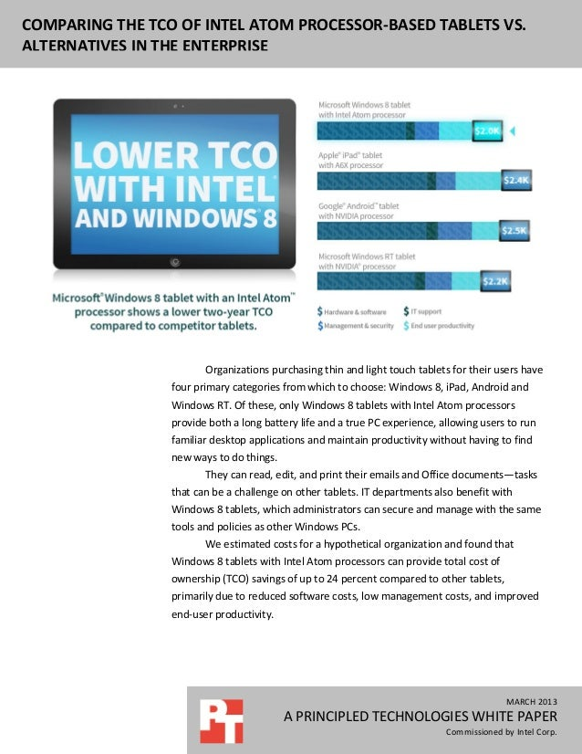COMPARING THE TCO OF INTEL ATOM PROCESSOR-BASED TABLETS VS.ALTERNATIVES IN THE ENTERPRISE                        Organizat...