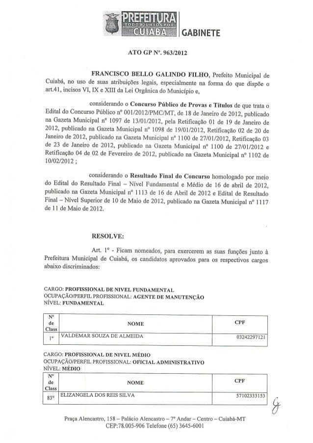 Ato nº 963 nomeação