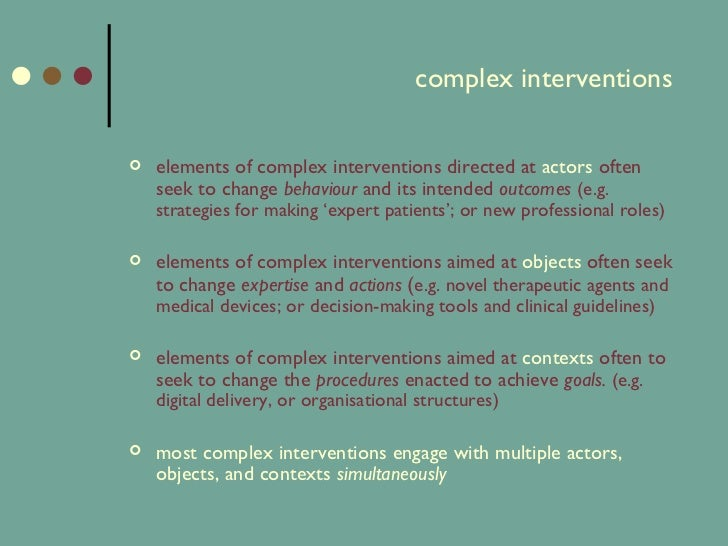 A toolkit for complex interventions and health ...