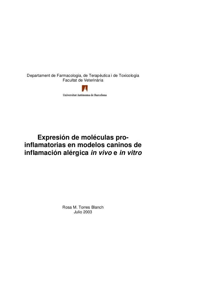 Departament de Farmacologia, de Terapèutica i de Toxicologia                  Facultat de Veterinària     Expresión de mol...