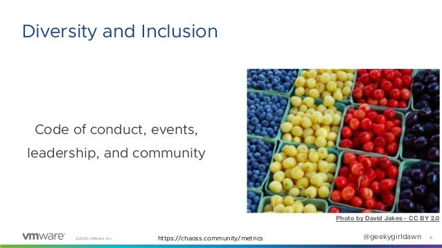 ©2020 VMware, Inc. @geekygirldawn Code of conduct, events, leadership, and community 15 Diversity and Inclusion Photo by D...