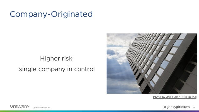 ©2020 VMware, Inc. @geekygirldawn Higher risk: single company in control 18 Company-Originated Photo by Jan Fidler - CC BY...