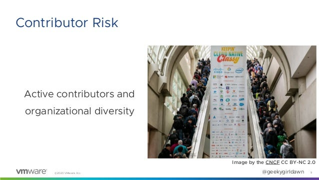 ©2020 VMware, Inc. @geekygirldawn Active contributors and organizational diversity 9 Contributor Risk Image by the CNCF CC...