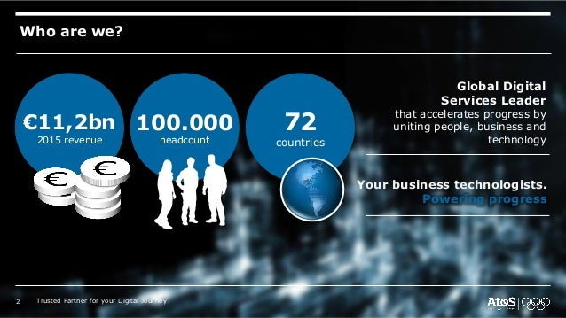 Who are we? €11,2bn 2015 revenue 100.000 headcount 72 countries Global Digital Services Leader that accelerates progress b...