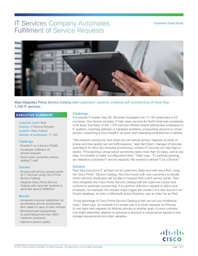 IT Services Company Automates Fulfillment of Service Requests  Customer Case Study  Atos integrates Prime Service Catalog ...