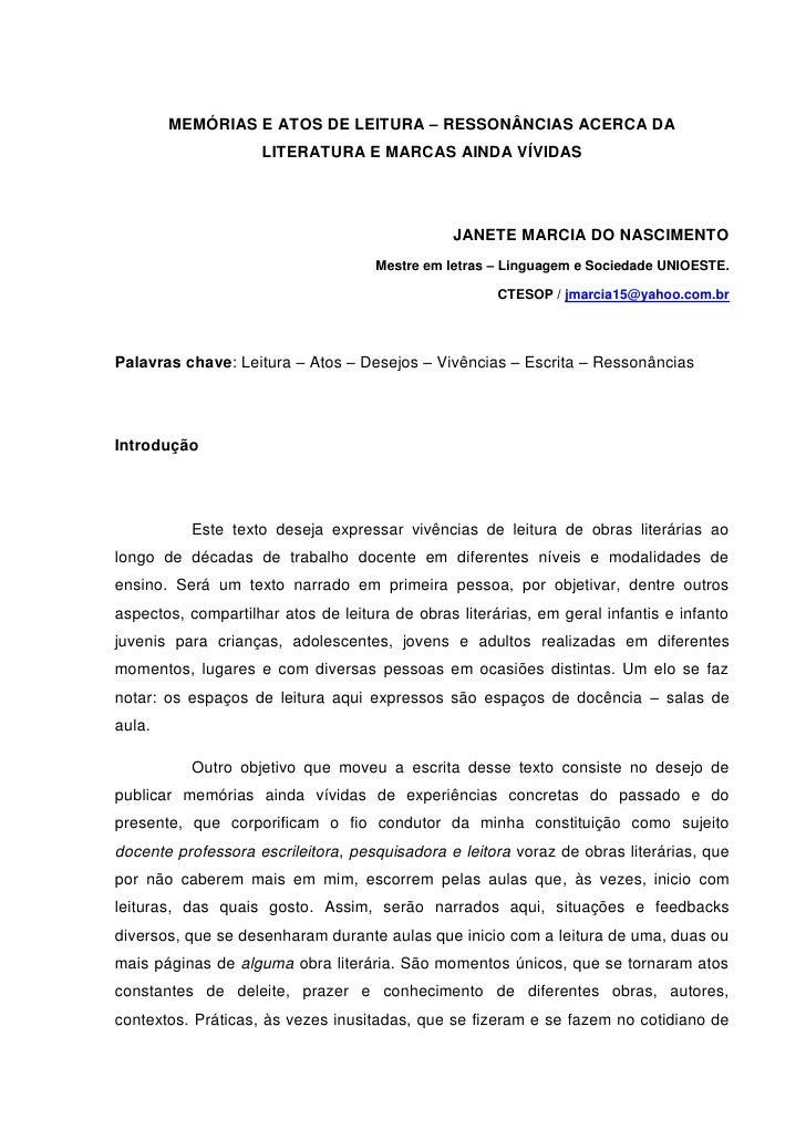 MEMÓRIAS E ATOS DE LEITURA – RESSONÂNCIAS ACERCA DA                    LITERATURA E MARCAS AINDA VÍVIDAS                  ...