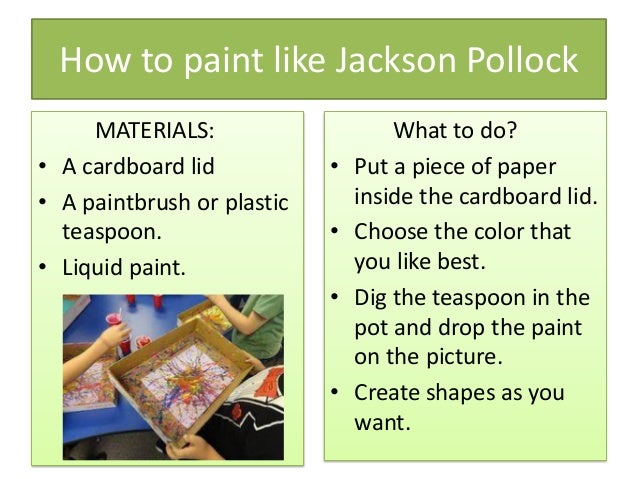 Jackson pollock for kids for Jackson pollock coloring page