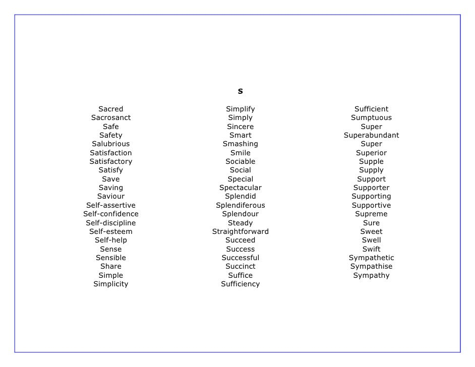 Letter Romantic Word List
