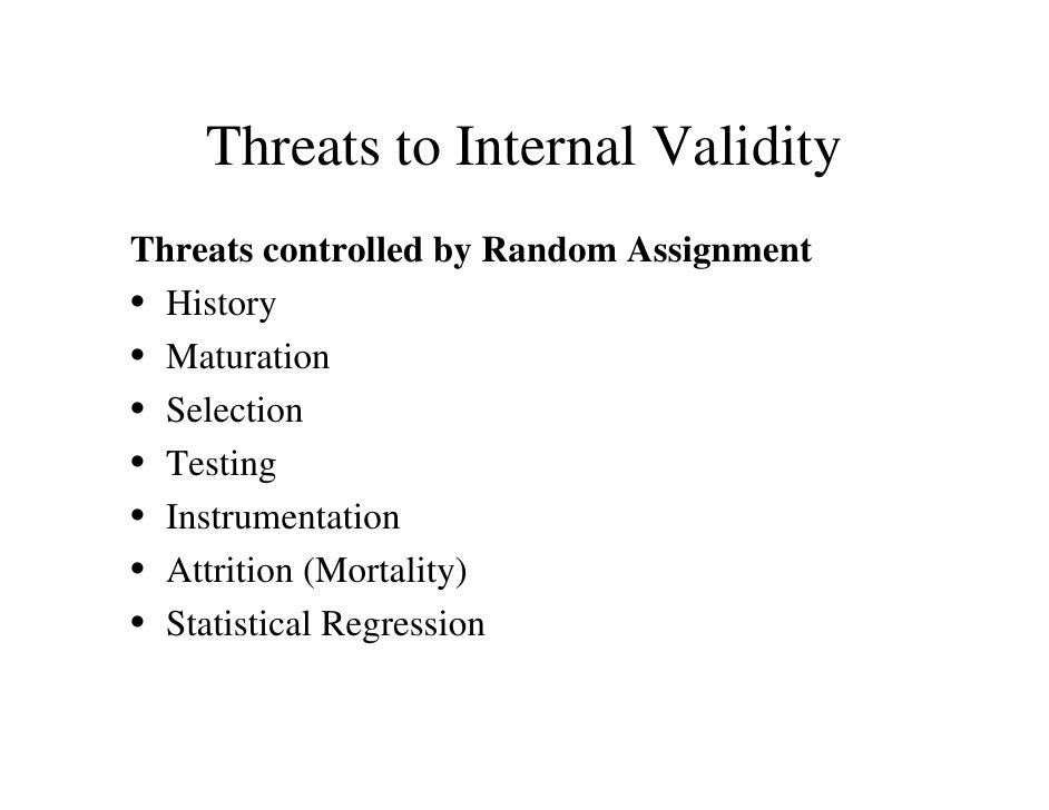 what do threats to validity have to do with training evaluation Threats to internal & external validity the controlled or experimental design enables the investigator to control for threats to internal and external validity threats to internal validity compromise our confidence in saying that a relationship exists between the.