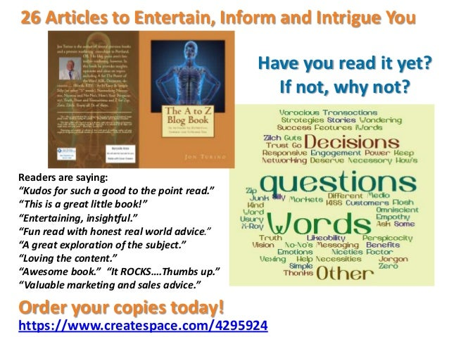 """26 Articles to Entertain, Inform and Intrigue YouHave you read it yet?If not, why not?Readers are saying:""""Kudos for such a..."""