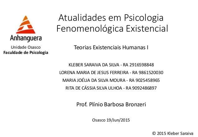 Atualidades em Psicologia Fenomenológica Existencial Teorias Existenciais Humanas I KLEBER SARAIVA DA SILVA - RA 291659884...
