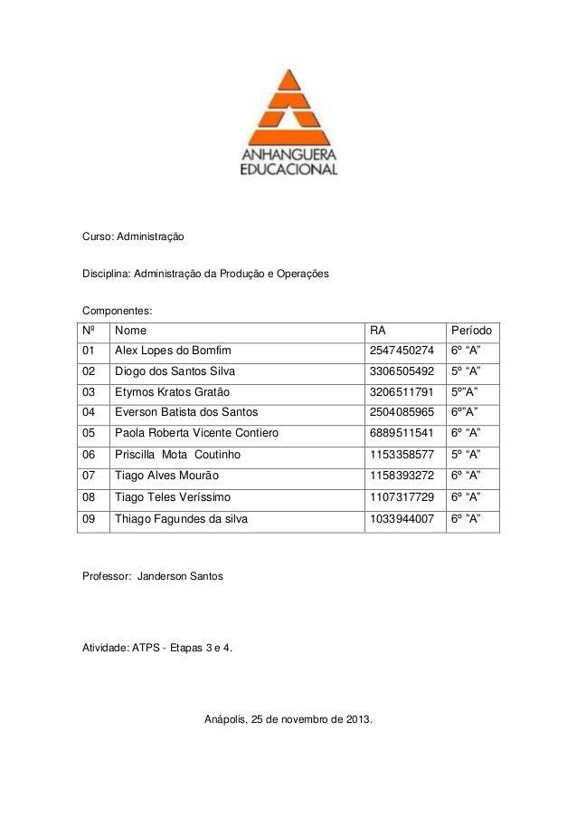 Curso: Administração  Disciplina: Administração da Produção e Operações  Componentes:  Nº Nome RA Período  01 Alex Lopes d...